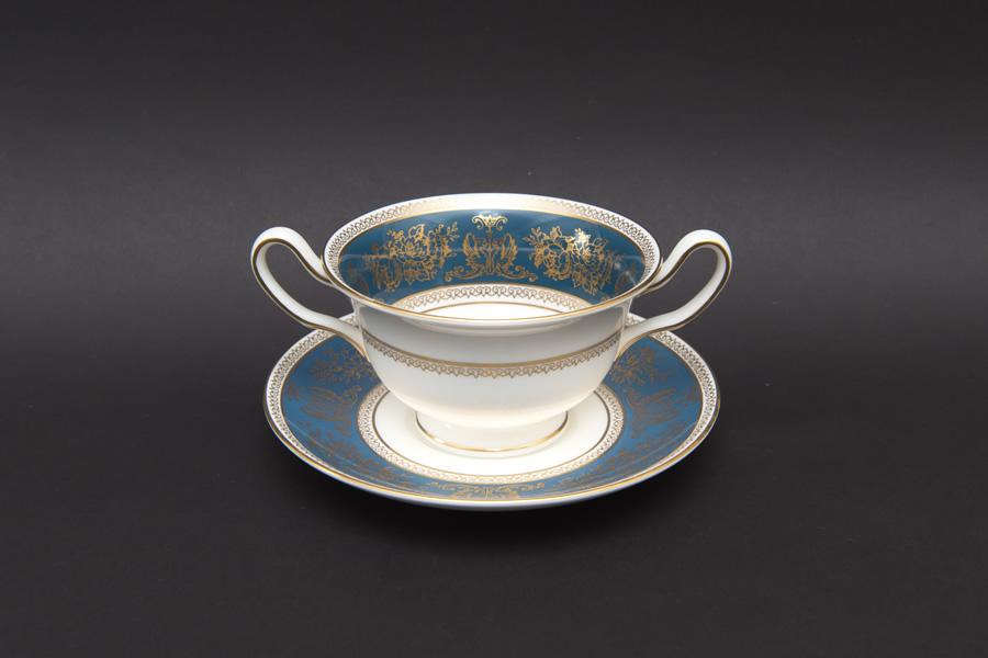 ウェッジウッド コロンビア ブルー&ゴールド スープカップ&ソーサー
