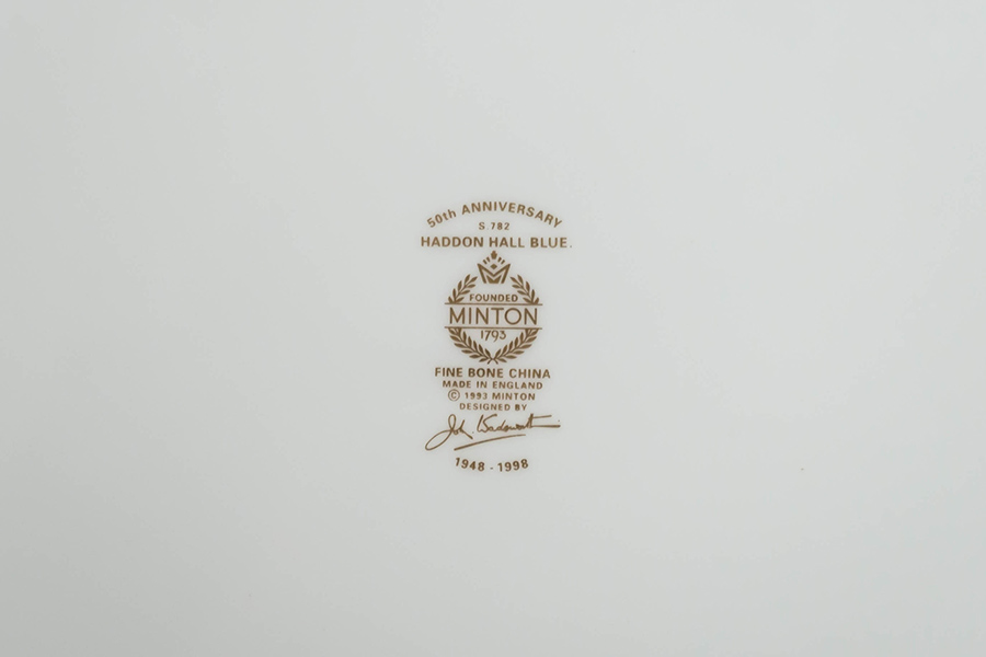 ミントン ハドンホールブルー ブレッド&バタープレート(50周年記念)