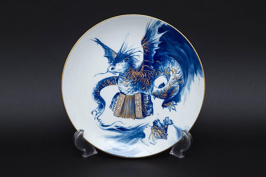 マイセン 干支プレート(2012年)『風を捉えて歌う龍の親子』