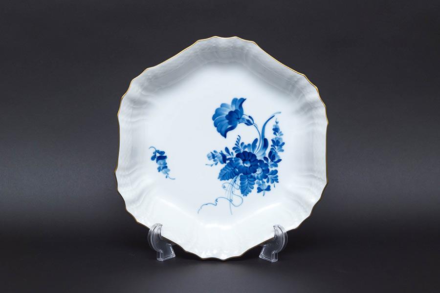 ロイヤル・コペンハーゲン ブルーフラワーカーブ 六角皿(金彩)