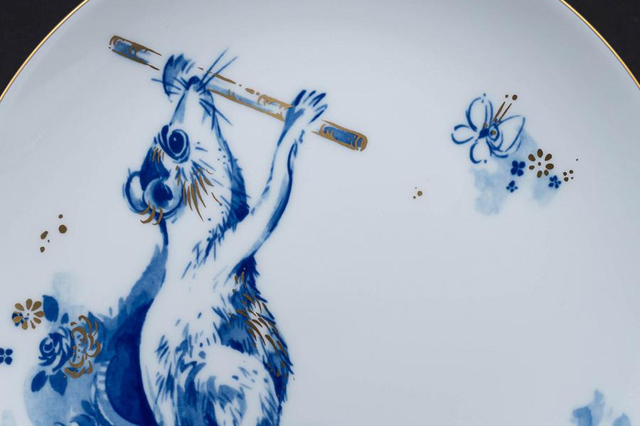マイセン 干支プレート(2008年)『ピッコロを吹く陽気なネズミ』