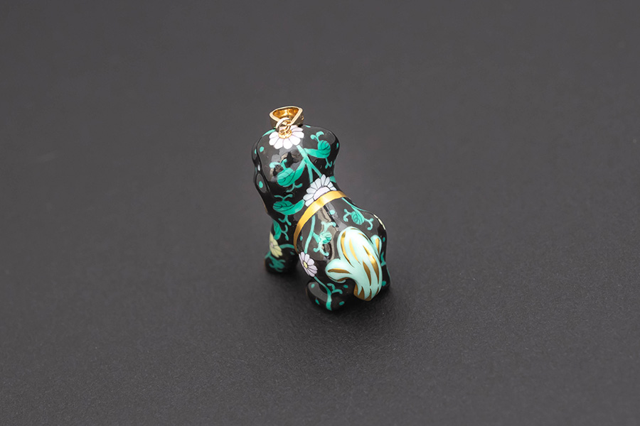 ヘレンド 西安の黒 狛犬 ペンダント