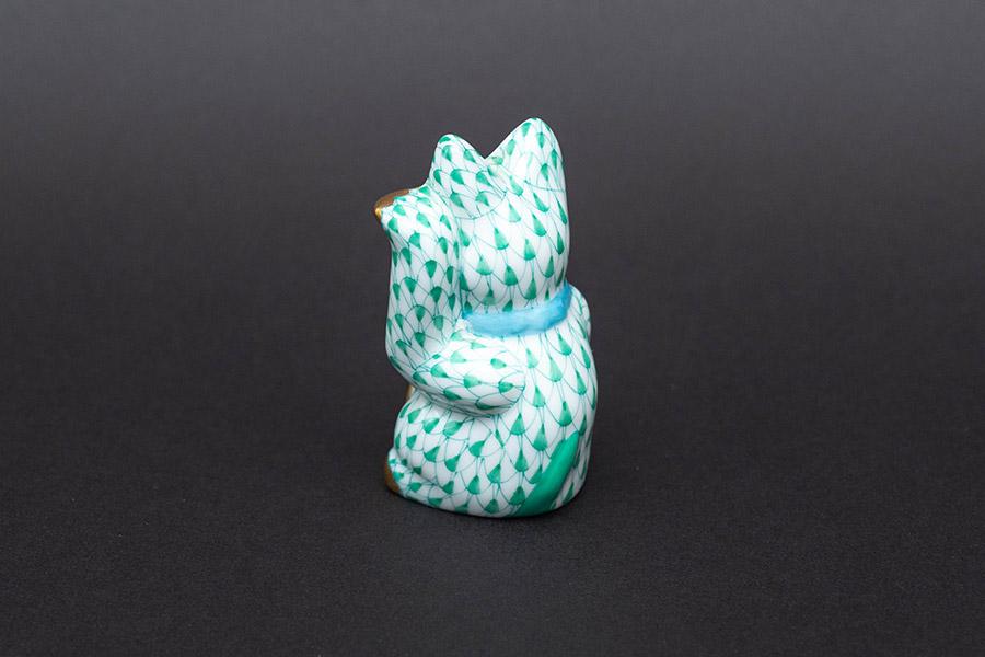 ヘレンド ビューヘレンド 招き猫(緑)