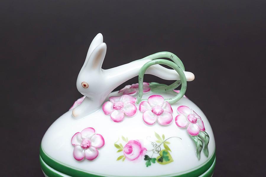 ヘレンド ウィーンの薔薇 タマゴボックス(ウサギ)