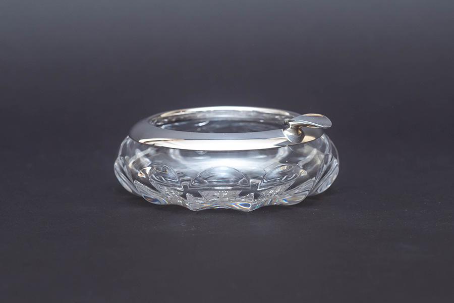 マッピン&ウェッブ クリスタルガラス アッシュトレイ(スターリングシルバー)