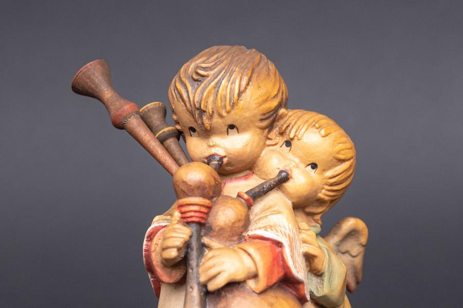 アンリ 木彫人形『The Helper(バグパイプを吹く少年と天使)』