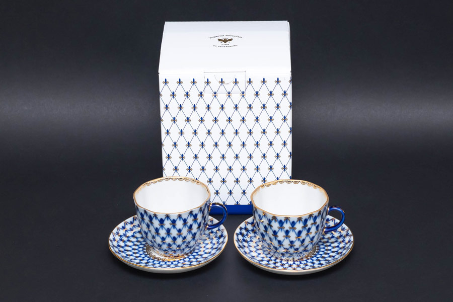 インペリアル・ポーセリン コバルトネット コーヒーカップ&ソーサー(140ml)ペア