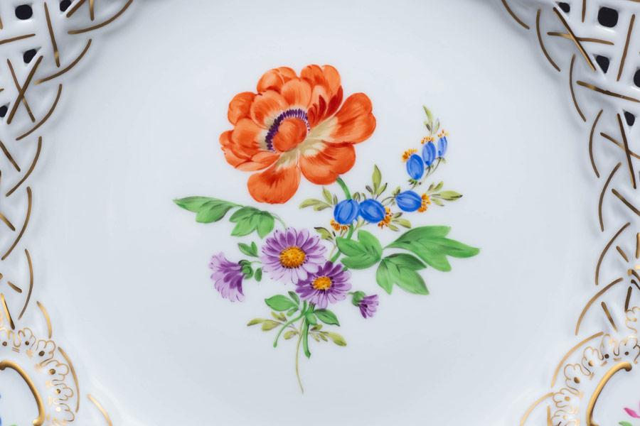 マイセン ベーシックフラワー(三つ花) 21cmメッシュプレート
