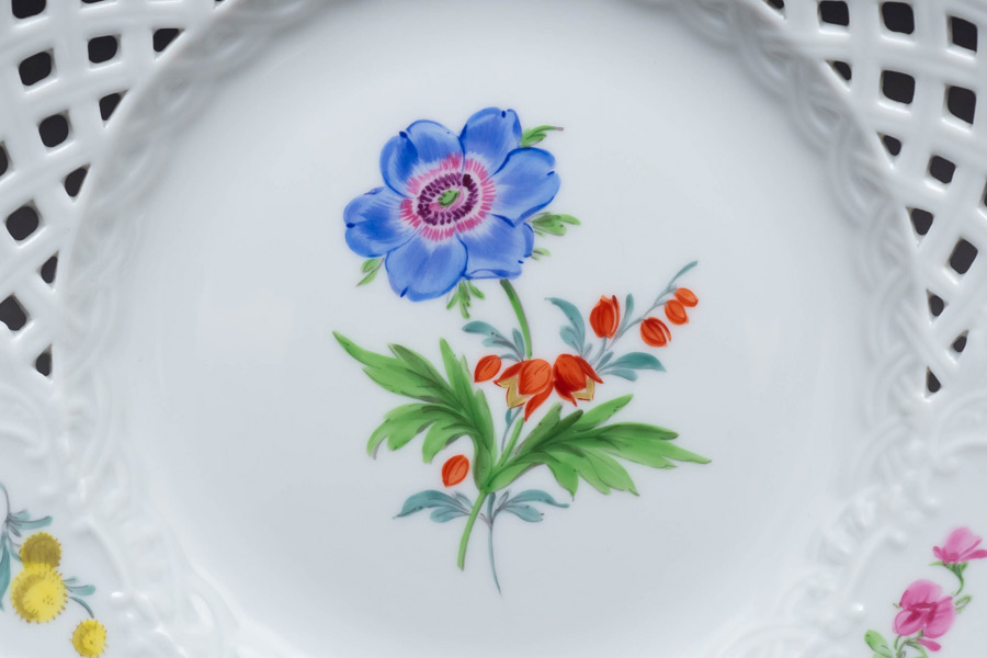 マイセン ベーシックフラワー(二つ花) 16cmメッシュプレート